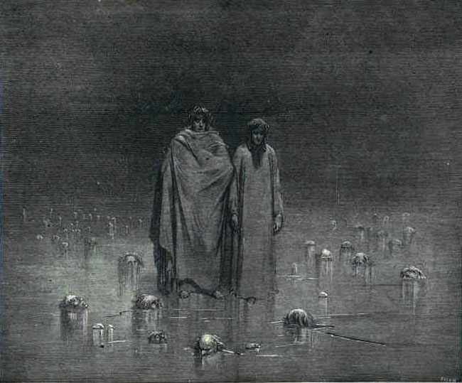 Dante and Virgil crossing the ice of the 9th level