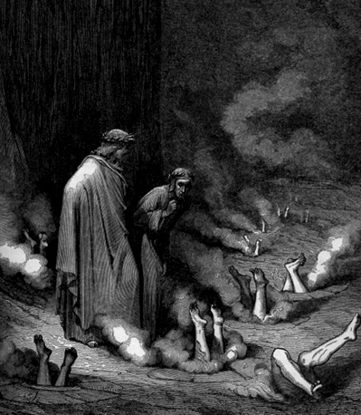 Dante speaks to Pope Nicholas III