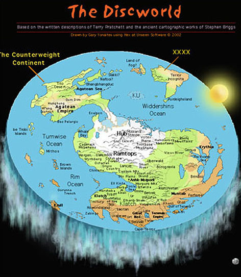 April 2014 the view from saris world the majority of the discs landmass is composed of a single supercontinent and a smaller counterweight continent connected by a narrow peninsula gumiabroncs Gallery