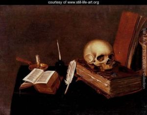 A-vanitas-still-life-with-a-candle,-an-inkwell,-a-quill-pen,-a-skull-and-books