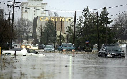 Side street in downtown Carson City during the 1997 flood.